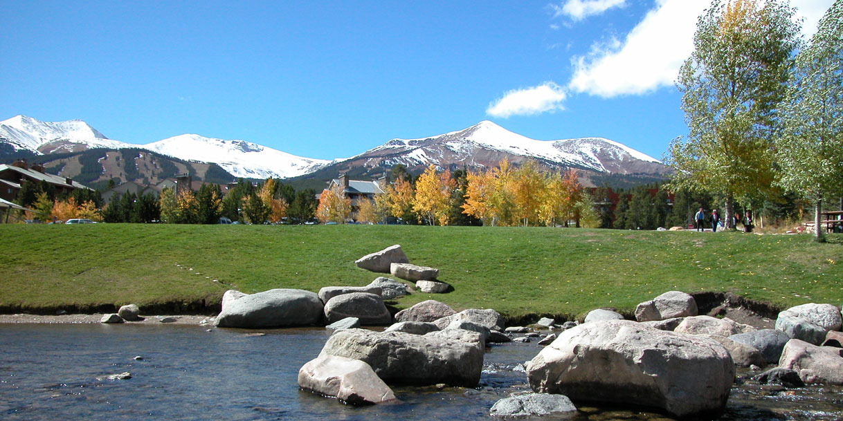 View of a river side walkway in Breckenridge Colorado